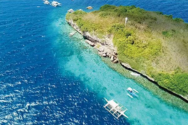セブ_モアルボアル_ジャイロコプター_空から眺めた島と海